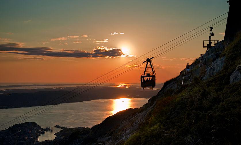 Taubane opp til Ulriken. Ting å gjøre i Bergen.